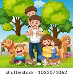 family with kids and pets in... | Shutterstock .eps vector #1032071062