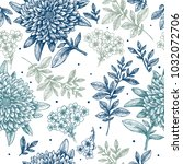 floral seamless pattern. linear ... | Shutterstock .eps vector #1032072706
