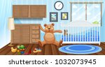 inside a kid's room | Shutterstock .eps vector #1032073945