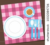 dinner table setting with... | Shutterstock .eps vector #1032084736