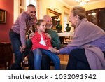 father and daughter visit... | Shutterstock . vector #1032091942