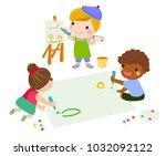 three children drawing | Shutterstock .eps vector #1032092122