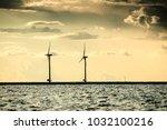 wind turbines generator farm... | Shutterstock . vector #1032100216