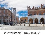 Piacenza, medieval town, Italy. City center with piazza Cavalli (square horses), palazzo Gotico (gothic palace - XIII century) and palazzo dei Mercanti (merchants