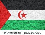 western sahara flag on the wall ... | Shutterstock . vector #1032107392