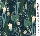 floral seamless pattern. vector ... | Shutterstock .eps vector #1032107905