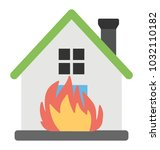 a residential house on fire  | Shutterstock .eps vector #1032110182