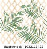 tropical leaves pattern vector... | Shutterstock .eps vector #1032113422