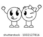 dotted shape couple funny and... | Shutterstock .eps vector #1032127816