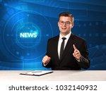 modern televison presenter... | Shutterstock . vector #1032140932