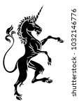 a unicorn rampant standing on... | Shutterstock .eps vector #1032146776