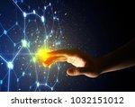 female finger touching a beam... | Shutterstock . vector #1032151012