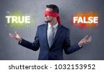 businessman with red ribbon on... | Shutterstock . vector #1032153952