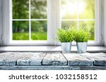 white wooden table of free... | Shutterstock . vector #1032158512