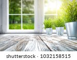 white wooden table of free... | Shutterstock . vector #1032158515