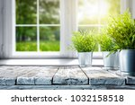 white wooden table of free... | Shutterstock . vector #1032158518