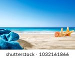 shell decoration on sand and... | Shutterstock . vector #1032161866