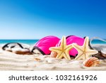 shell decoration on sand and... | Shutterstock . vector #1032161926