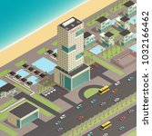 isometric south city... | Shutterstock . vector #1032166462