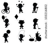 happy children silhouettes... | Shutterstock .eps vector #103216802