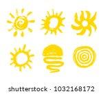 painted sun icon. grunge design ... | Shutterstock .eps vector #1032168172