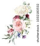 watercolor flowers. floral... | Shutterstock . vector #1032183532