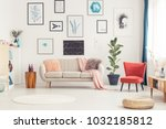 pouf  round rug and red... | Shutterstock . vector #1032185812