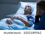 dying elderly woman with tumor... | Shutterstock . vector #1032189562