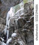 breitachklamm in winter icicles ... | Shutterstock . vector #1032194686
