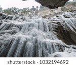breitachklamm in winter icicles ... | Shutterstock . vector #1032194692