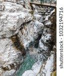 breitachklamm in winter icicles ... | Shutterstock . vector #1032194716