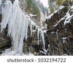 breitachklamm in winter icicles ... | Shutterstock . vector #1032194722