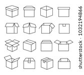 carton boxes icon set. paper... | Shutterstock .eps vector #1032194866