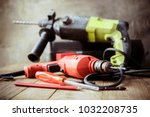 drill and set of drill... | Shutterstock . vector #1032208735
