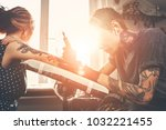 a young guy  beats a tattoo on...   Shutterstock . vector #1032221455