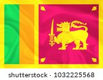 sri lanka fabric flag... | Shutterstock . vector #1032225568