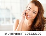 pretty young woman using mobile ... | Shutterstock . vector #103223102