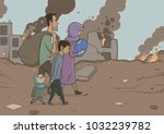 family of refugees with two... | Shutterstock .eps vector #1032239782