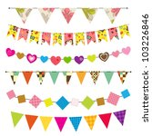 textured bunting and garland set | Shutterstock .eps vector #103226846