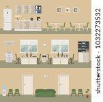office premises in a beige...   Shutterstock .eps vector #1032273532