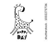 cute cartoon giraffe in... | Shutterstock .eps vector #1032273736