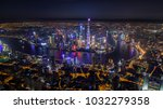 aerial night view of shanghai... | Shutterstock . vector #1032279358