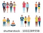 vector set in a flat style of... | Shutterstock .eps vector #1032289558