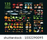 135 organic products. natural... | Shutterstock .eps vector #1032290095