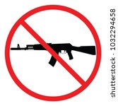 a black  white and red no gun... | Shutterstock .eps vector #1032294658