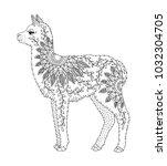 baby alpaca. hand drawn llama... | Shutterstock .eps vector #1032304705