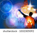 dancing people  big music event | Shutterstock .eps vector #1032305092