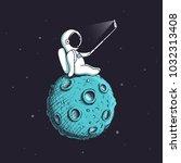 funny astronaut make selfie on... | Shutterstock .eps vector #1032313408