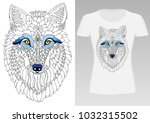 wolf head. hand drawn picture.... | Shutterstock .eps vector #1032315502