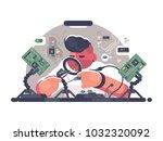 man solder iron electric board. ... | Shutterstock .eps vector #1032320092